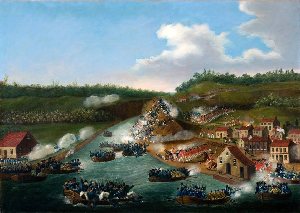 """RiverBrink's War of 1812. Queenston."" Courtesy of the RiverBrink Art Museum, 2013 Britain had limited resources to fight in this war because of the war with France, but"