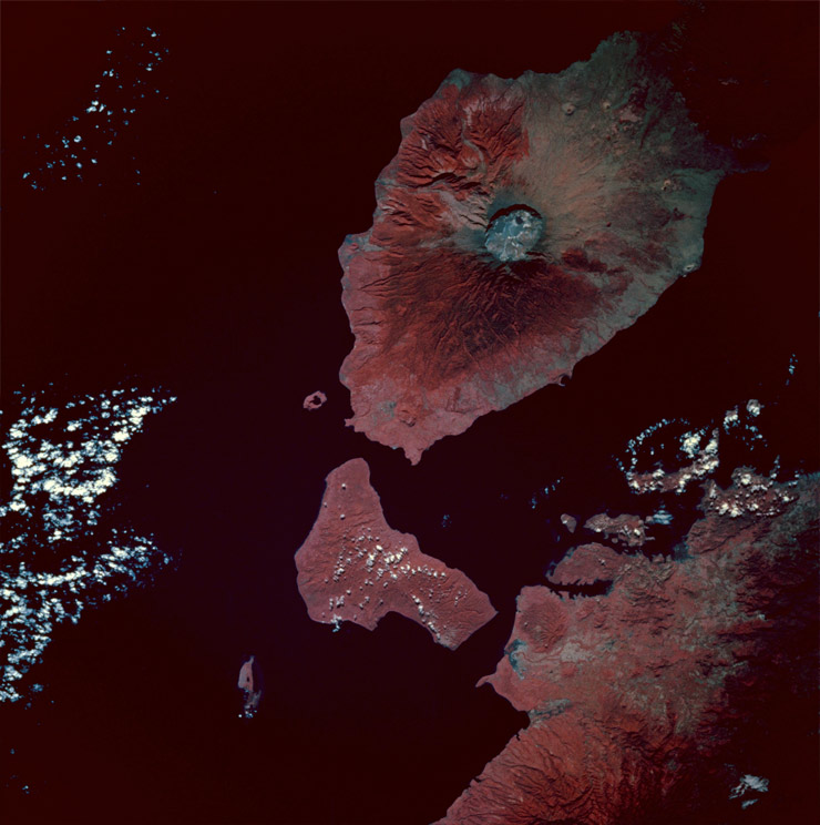 Tambora Volcano Caldera Indonesia Taken from the space shuttle Endeavour 13 May 1992 (courtesy of NASA)