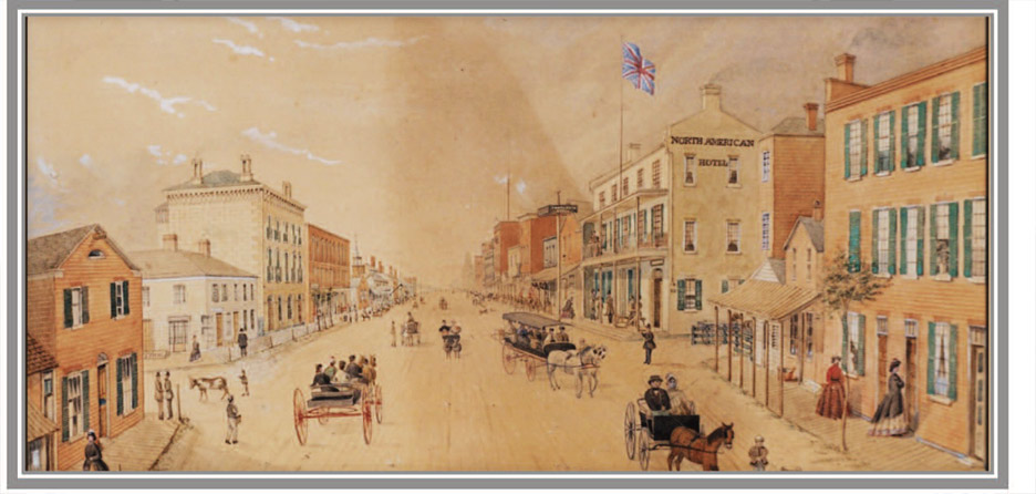 George Ackerman watercolour of Main Street 1866 Courtesy of the Museums of Prince Edward County